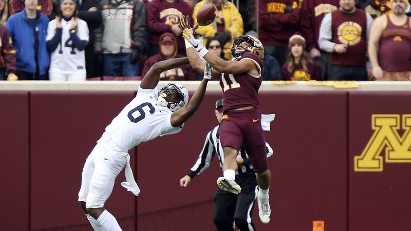 Minnesota defensive back Antoine  Winfield Jr. (11) intercepts the ball intended for Penn State wide receiver Justin Shorter (6) during an NCAA college football game, Saturday, Nov. 9, 2019, in Minneapolis. (AP Photo/Stacy Bengs)  2020 NFL Mock Draft