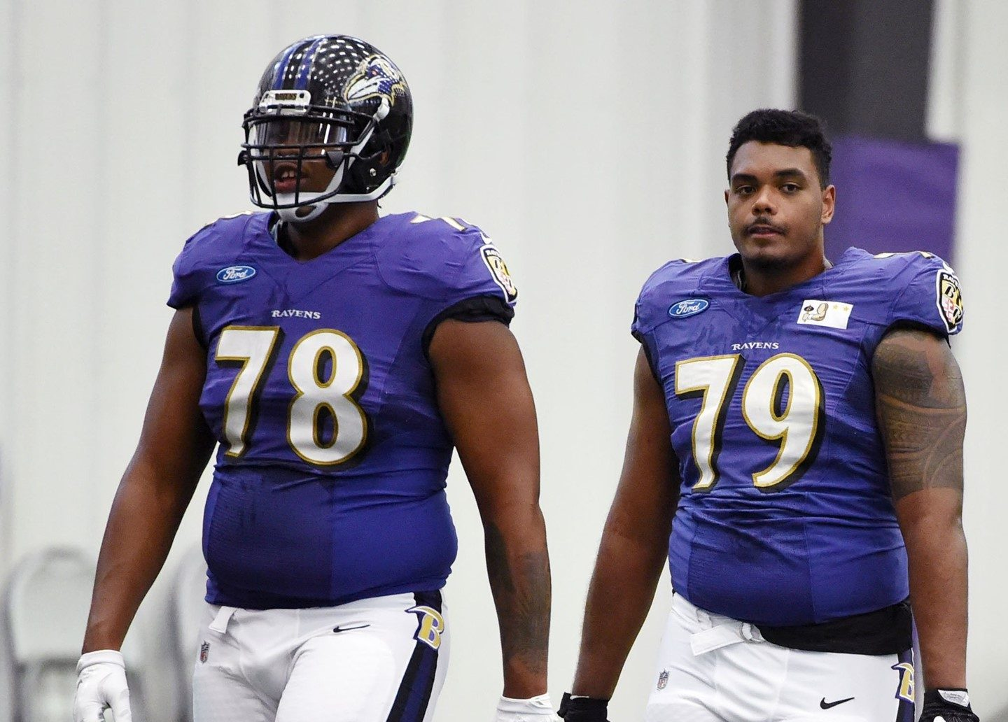 Photo of Orlando Brown Jr. and Ronnie Stanley together