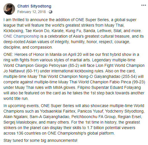 Chatri Siyodtong's announcement of ONE Super Series
