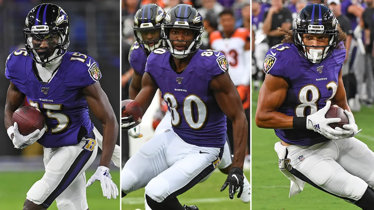 Ravens wide receivers Hollywood Brown, Miles Boykin, Willie Snead