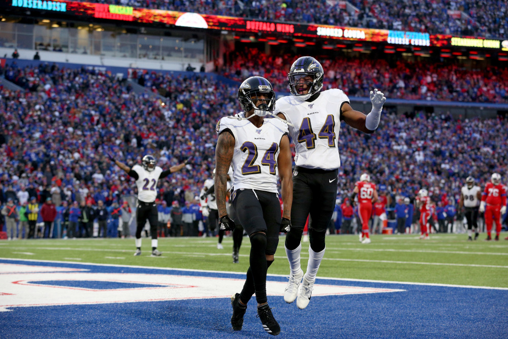 Ravens cornerback Marcus Peters and Marlon Humphrey