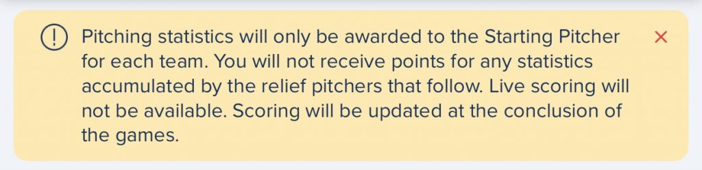 Fanduel notice that RP will not be used in KBO contests