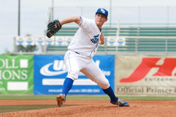 Kris Bubic pitching in the minor leagues.