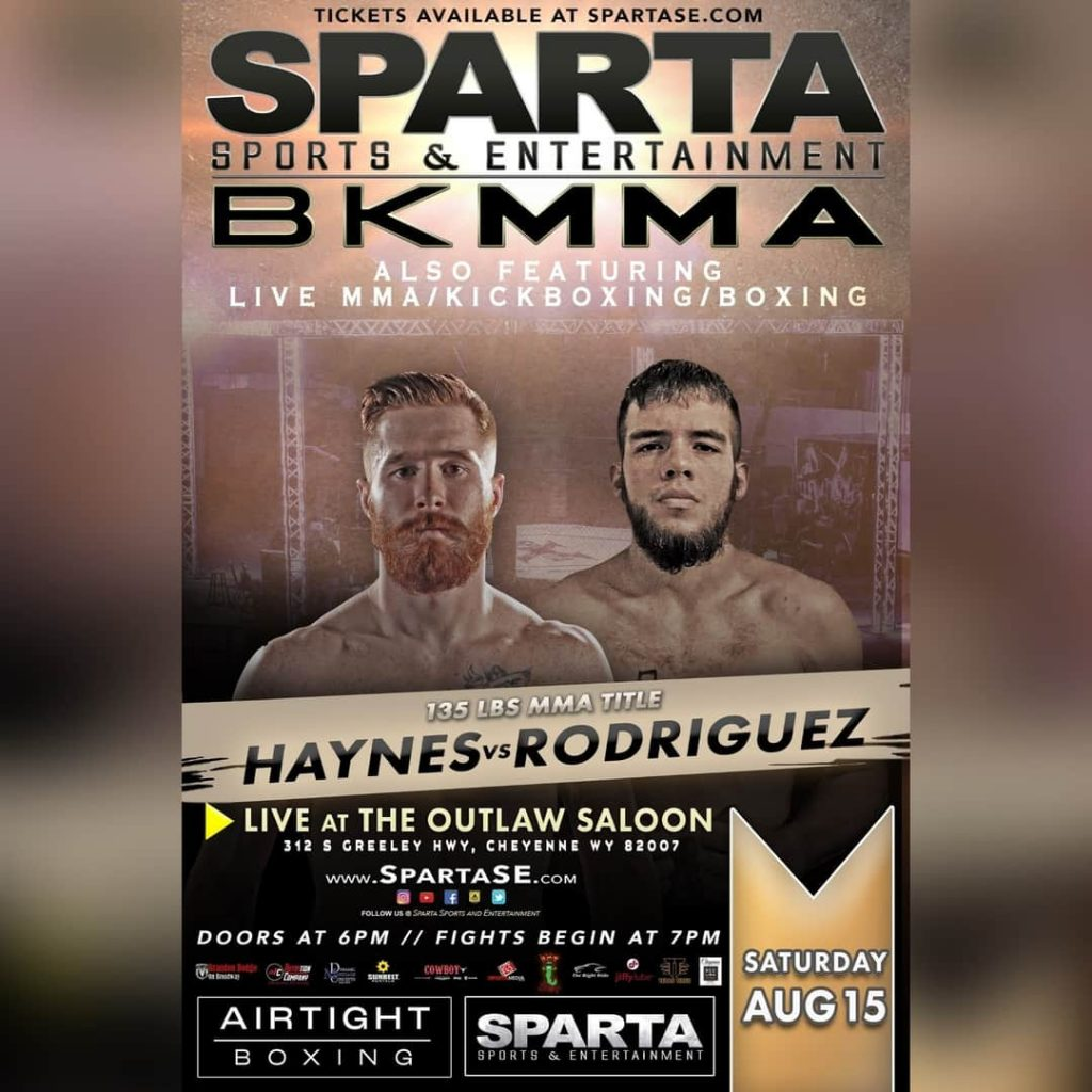 Zac Haynes vs Mario Rodriguez fight poster. Courtesy of Sparta Sports and Entertainment.