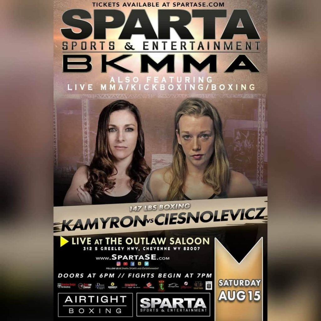 Khortni Kamyron vs Barb Ciesnolevicz fight poster. Courtesy of Sparta Sports and Entertainment.