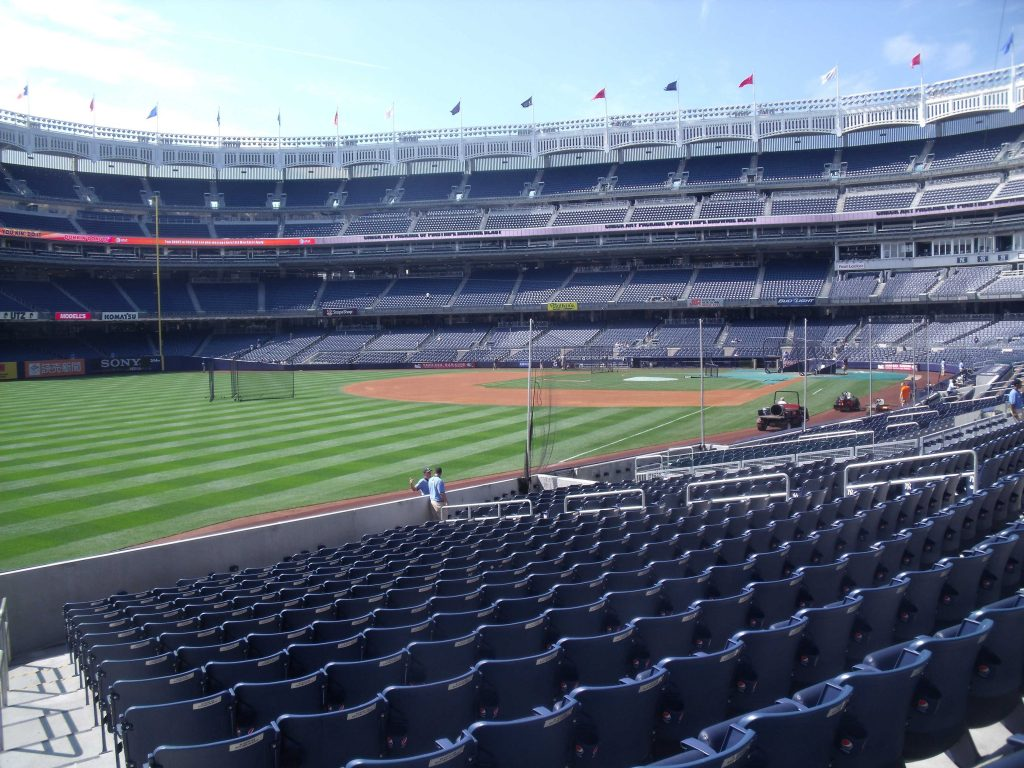 Empty Yankee Stadium.