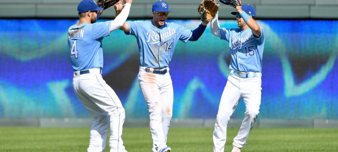 Royals players celebrating after a game.
