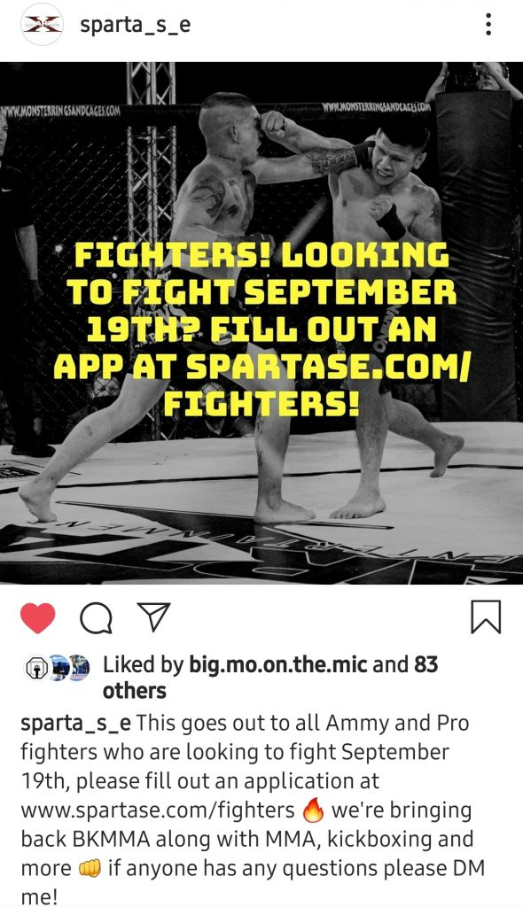 Sparta Sports and Entertainment's Instagram photo asking fighters to apply at www.spartase.com for Sparta BKMMA 2