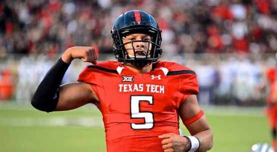 Patrick Mahomes; one of Texa Tech's most valuable NFL players celebrating after a Red Raider touchdown.