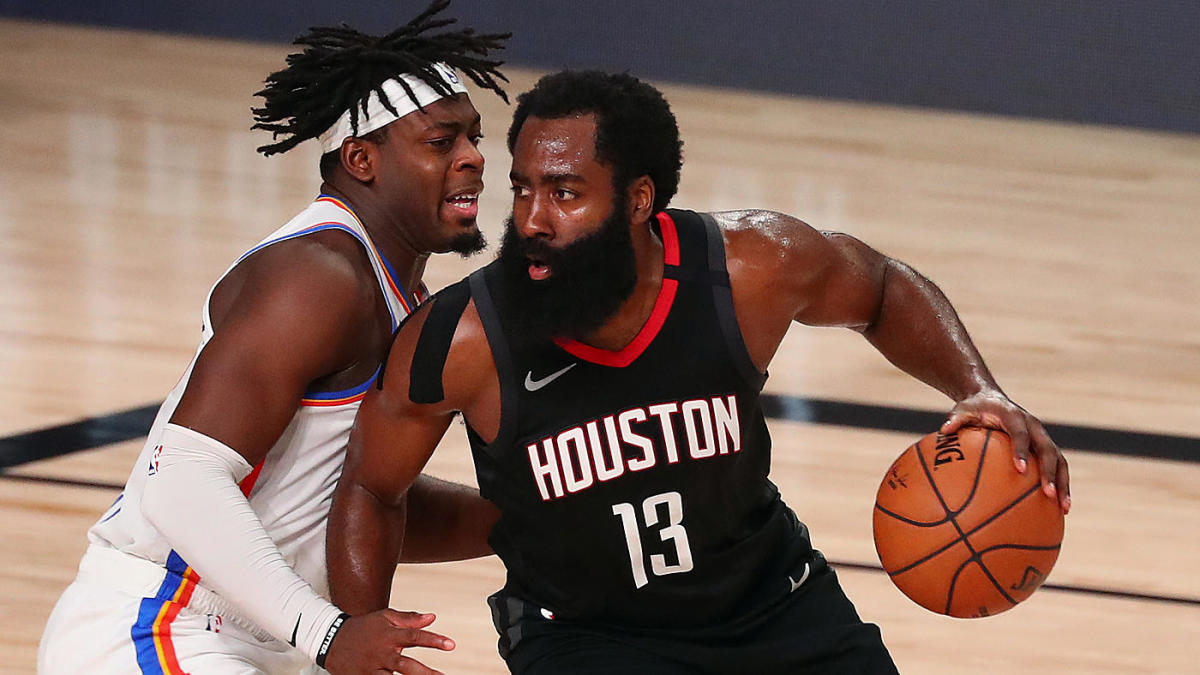 James Harden defended by Lou Dort