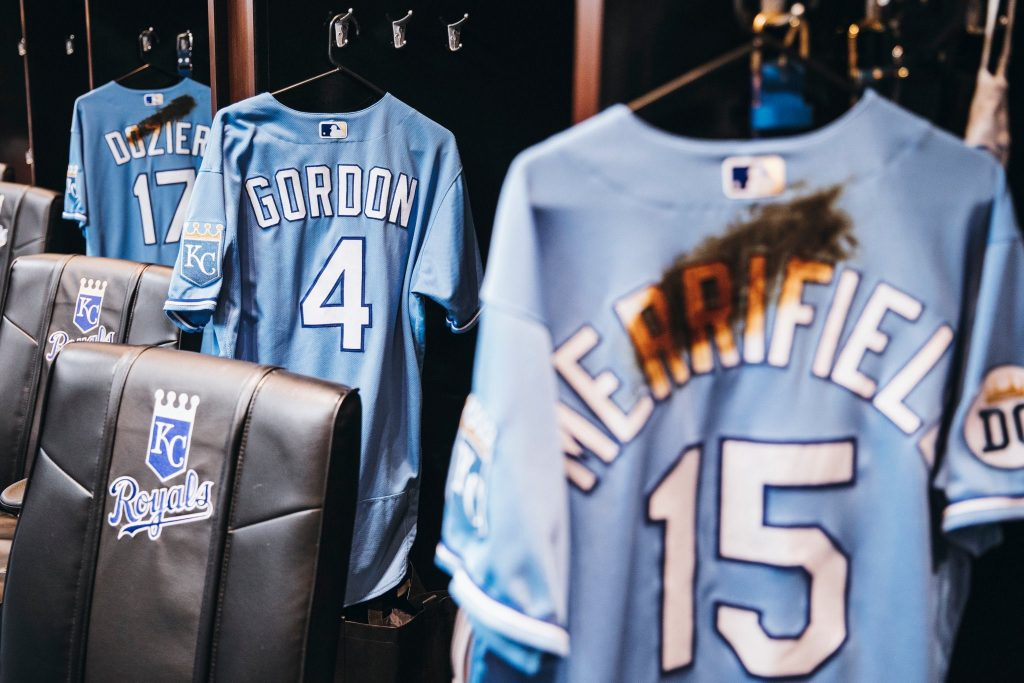 Jerseys in the locker room.